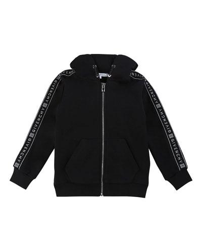 Girl's Zip-Front Logo Trim Hooded Sweatshirt, Size 12-14