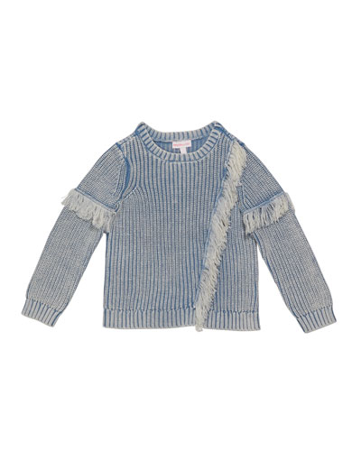 Girl's Denim Colored Fringe Sweater, Size 2-6X