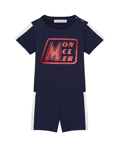 Jersey Stretch Logo Tee w/ Matching Shorts, Size 3M-3