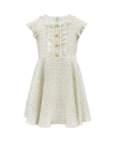 Girl's Ruffle Cap-Sleeve Tweed Dress, Size 4-8