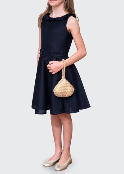Girl's Ribbed Scuba Ruffle Trim Dress, Size 8-16
