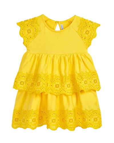 Girl's Tiered Eyelet Dress, Size 4-7