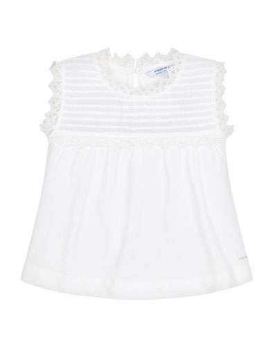 Girl's Sleeveless Lace-Trim Poplin Shirt, Size 4-7