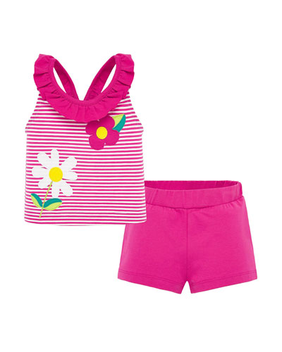 Girl's Floral Embroidered Striped Tank w/ Shorts, Size 6-36 Months