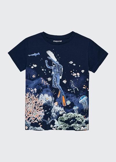Boy's Glow In Dark Snorkel Graphic T-Shirt, Size 4-7