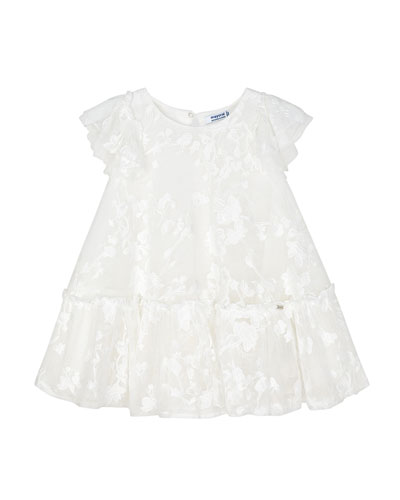 Girl's Embroidered Floral Tulle Dress, Size 4-7