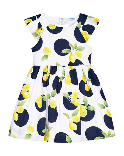 Girl's Lemon & Dot Print Dress, Size 4-7