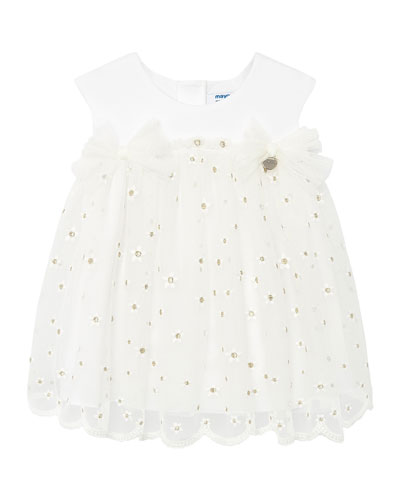Girl's Embroidered Flower Tulle Dress, Size 6-36 Months