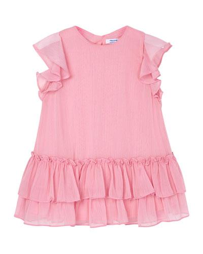 Girl's Chiffon Ruffle Tiered Dress, Size 4-7