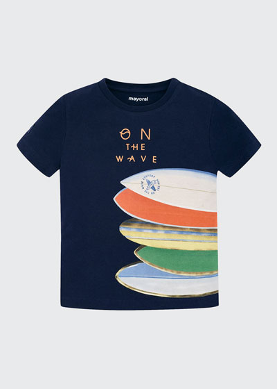 Boy's On the Wave Surfboard Graphic T-Shirt, Size 4-7