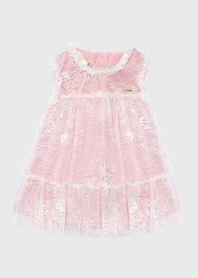 Girl's Lace Overlay Sleeveless Dress, Size 6-36 Months