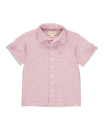 Boy's Striped Button-Front Shirt w/ Children's Book, Size 3T-10
