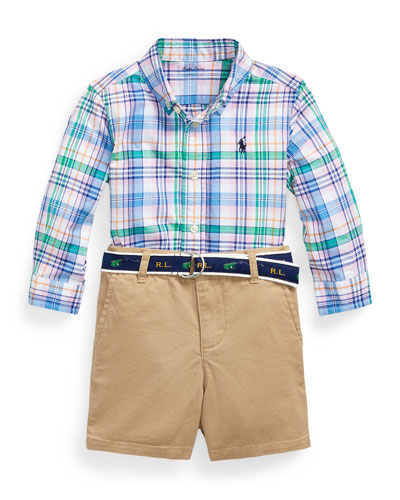 Poplin Plaid Button-Down Shirt w/ Tissue Chino Shorts & Logo Belt, Size 9-24 Months