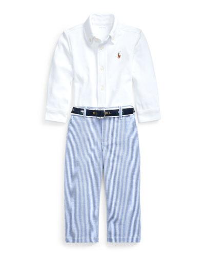 Boy's Button-Down Shirt w/ Seersucker Pants & Logo Belt, Size 6-24 Months