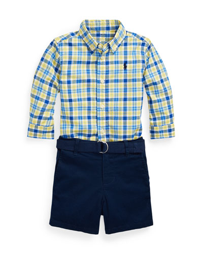 Poplin Plaid Button-Down Shirt w/ Tissue Chino Shorts & D-Ring Belt, Size 9-24 Months