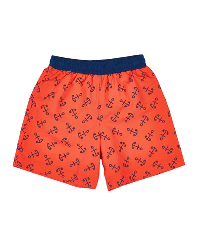 Boy's Anchor Print Swim Trunks, Size 4T-4