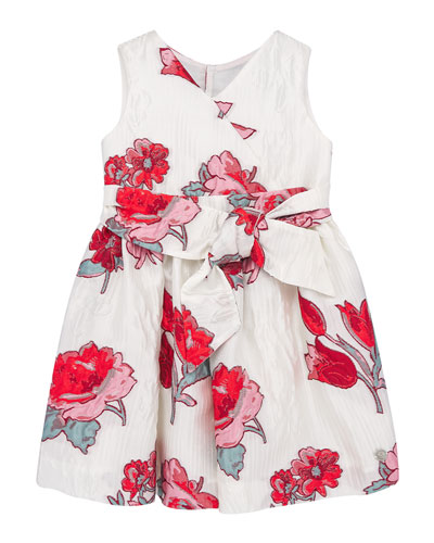 Girl's Floral Jacquard V-Neck Dress, Size 3-10