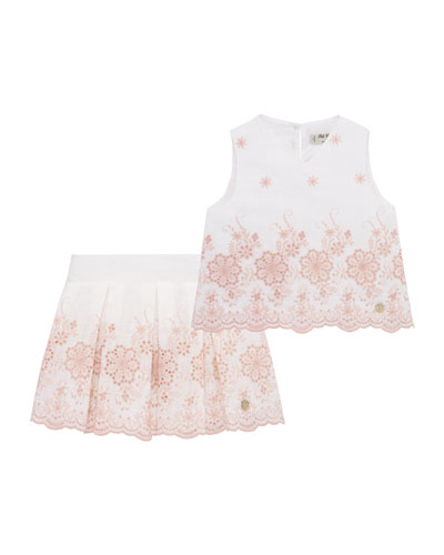 Girl's Embroidered Sleeveless Top w/ Box Pleated Skirt, Size 4-10