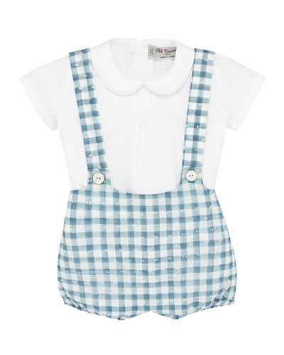 Pintucked Collared Shirt w/ Check Suspender Shorts, Size 3-24 Months