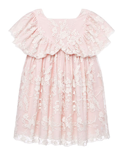 Girl's Lace Ruffle Sleeve Dress, Size 3-10