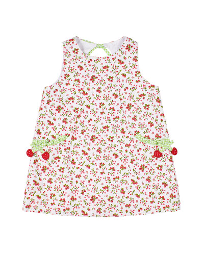 Girl's Cherry Print Sleeveless Pique Dress, Size 2-6X