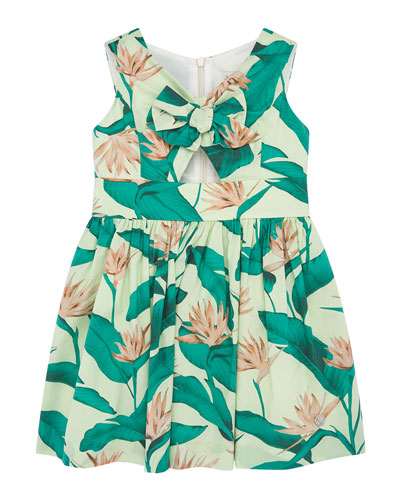 Girl's Tropical Bird of Paradise Floral Print Dress, Size 4-10