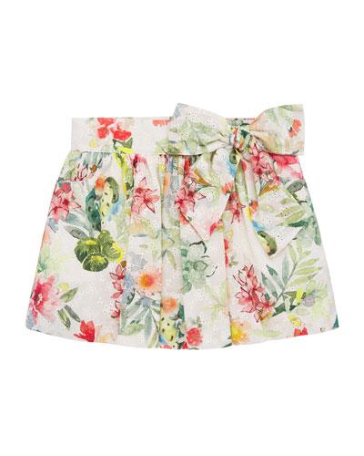 Girl's Floral Print Mini Eyelet Skirt, Size 4-10