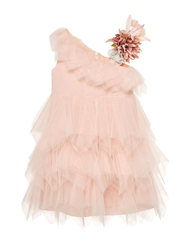 Girl's One-Shoulder Tulle Dress w/ Floral Accent, Size 3-10