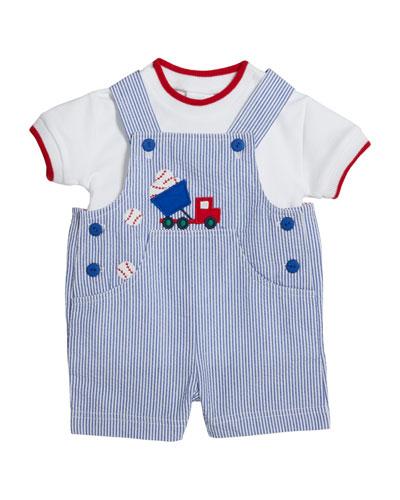 Cotton T-Shirt w/ Baseball Seersucker Shortall, Size 3-24 Months