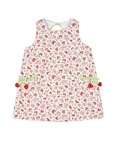 Girl's Cherry Print Sleeveless Pique Dress, Size 2-3