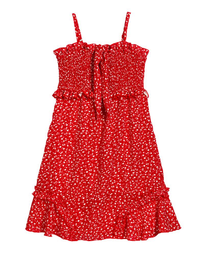 Girl's Floral Ruffle Trim Dress, Size S-XL