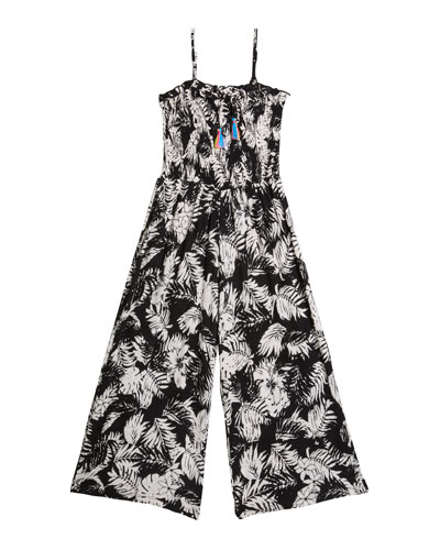 Girl's Leaf Print Sleeveless Jumpsuit, Size S-XL