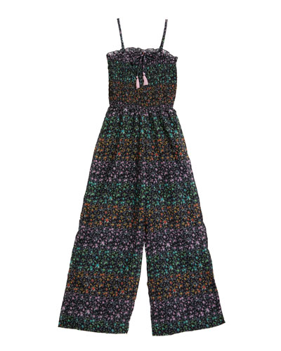 Sleeveless Floral-Print Jumpsuit, Size S-XL