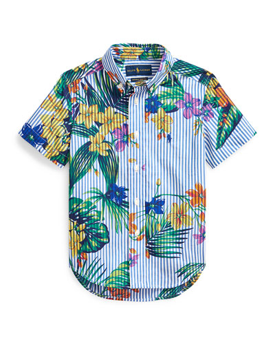 Boy's Floral Stretch Poplin Button-Down Shirt, Size 2-4