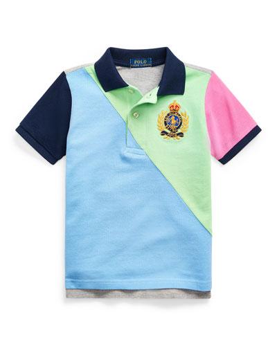 Boy's Colorblock Mesh Knit Polo Shirt, Size 5-7