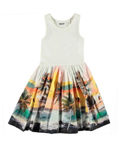 Girl's Cassandra Ribbed Dress w/ Palm Tree Print Skirt, Size 2-14