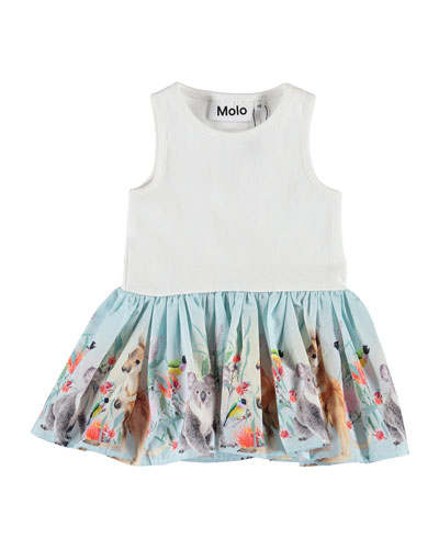 Cordelia Ribbed Dress w/ Koala & Kangaroos Print Skirt, Size 6-24 Months