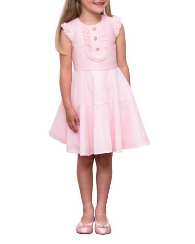 Girl's Ruffle-Bib Rib-Knit Fit-&-Flare Dress, Size 4-8