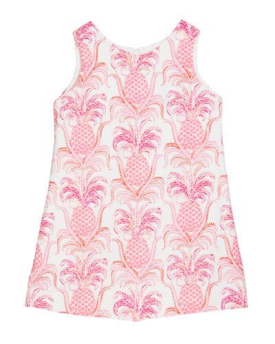 Girl's Pineapple Sleeveless A-Line Dress, Size 4-6X