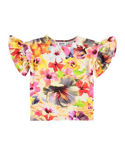 Girl's Rayah Frill Sleeve Floral Print Tee, Size 4-12