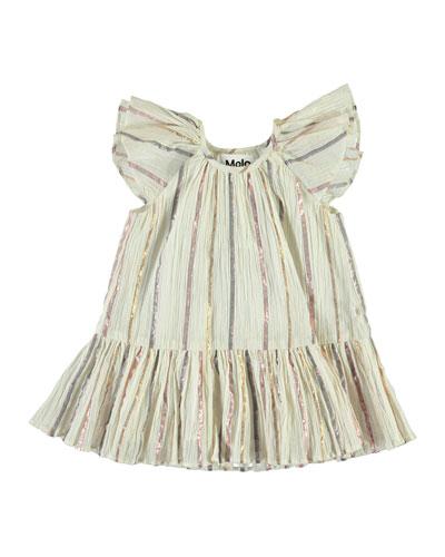 Cindie Metallic Stripe Dress, Size 12-24 Months