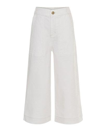 Girl's Alyna Wide Leg White Denim Pants, Size 6-16