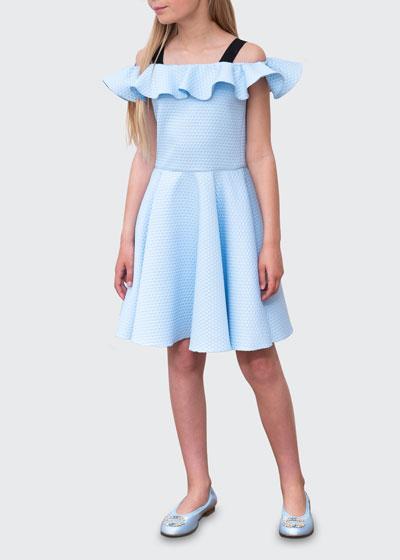 Girl's Ruffle Cold-Shoulder Birds Eye Knit Fit-&-Flare Dress, Size 10-16