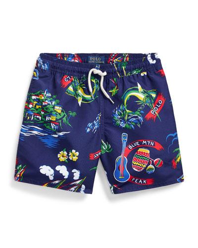 Boy's Captiva Tropical Printed Swim Trunks, Size 5-7