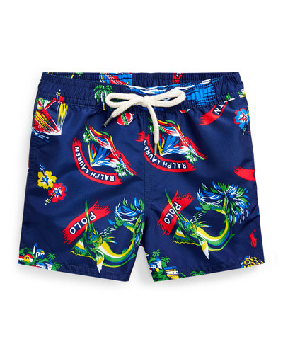Boy's Captiva Printed Swim Trunks, Size 9-24 Months