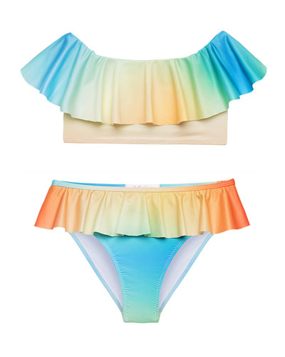Girl's Dawn Ombre Ruffle Two-Piece Bikini, Size 4-14