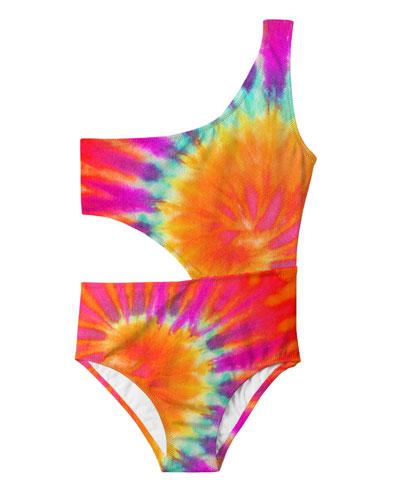 Girl's Tie Dye Cutout One-Piece Swimsuit, Size 2-14