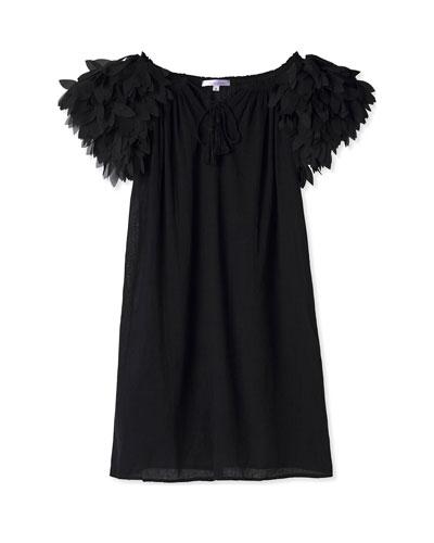 Girl's Short-Sleeve Dress with Petal Shoulders, Size 2-14