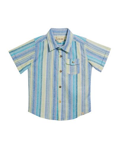 Boy's Striped Woven Shirt w/ Children's Book, Size 3T-7