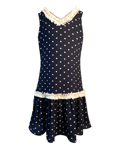 Girl's Polka-Dot Ruffle-Trim Sleeveless Dress, Size 4-6